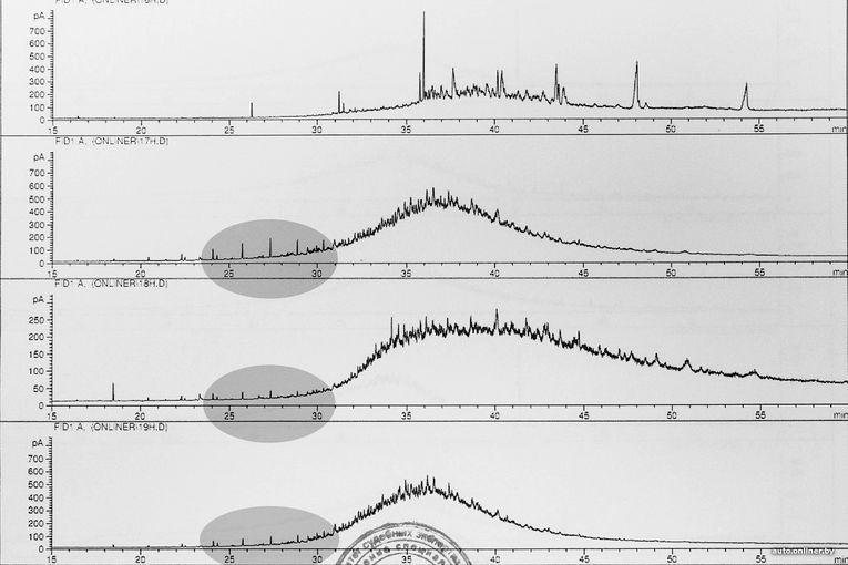 Сверху вниз: эталонный образец, №№17, 18 и 20 (ООО «ДоронЗапчасть», «Город масел» и канистра без акциза)